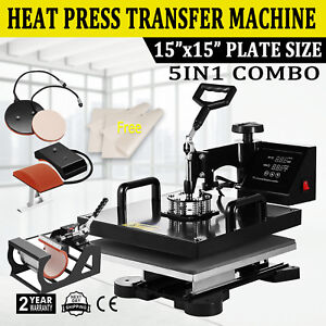 5in1 15 x15 T shirt Heat Press Transfer Machine Digital Swing Away Mug Plate