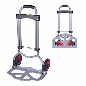 Windaze Compact Collapsible Luggage Cart steel Folding Dolly Push Hand Truck