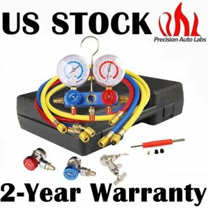 R134a R22 Vacuum Pump 4 Way Hvac Refrigeration Ac Manifold Gauge With 5ft Hose