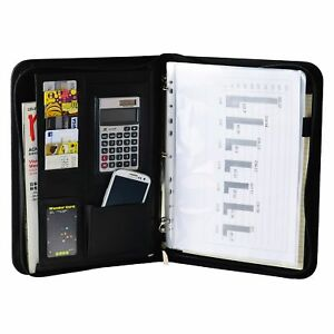 Black Pu Leather Padfolio Organizer Documents Holder With Notepad