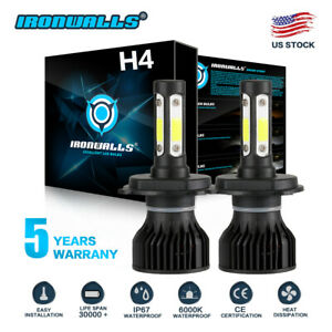 Cree H4 Hb2 9003 2000w 300000lm 4 Sides Led Headlight Kit Hi Lo Power Bulb 6000k
