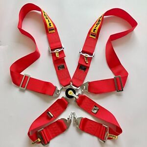 Universal Racing Camlock Harness Red 4 Point Seat Belt 3 Snap On Quick Release
