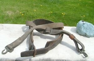Vintage Leather Lineman Climbing Pole Tree Safety Harness Belt Bronze Fittings