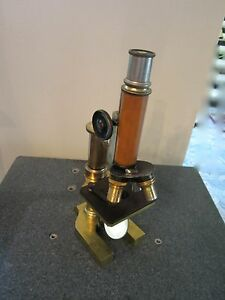 Vintage Optical Antique Brass Microscope Leitz As Shown Bausch Optics lobby