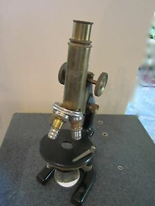 Vintage Optical Antique Brass Microscope Reichert As Shown Optics lobby
