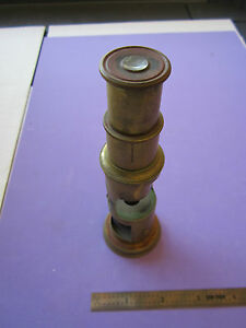 Antique Vintage French Portable Brass Microscope Optics France
