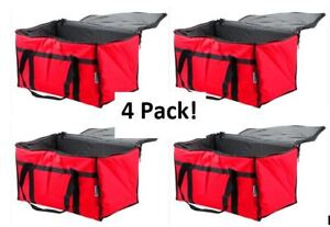 4 Pack Insulated Food Delivery Bag Pan Carrier Red Nylon 23 X 13 X 15