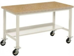 72 w X 36 d Mobile Workbench Shop Top Square Edge Tan