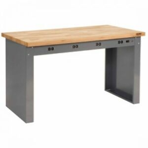 96 w X 36 d Panel Leg Workbench With Power Apron And Maple Butcher Block Square