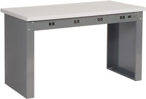 60 w X 30 d Panel Leg Workbench With Power Apron And Esd Square Edge Top