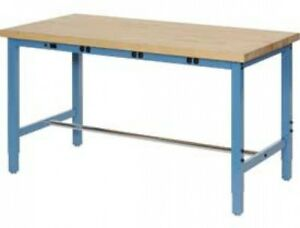 96 w X 30 d Production Workbench With Power Apron Maple Butcher Block Square