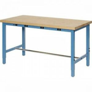 96 w X 30 d Production Workbench With Power Apron Birch Butcher Block Square