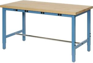 96 w X 36 d Production Workbench With Power Apron Maple Butcher Block Square
