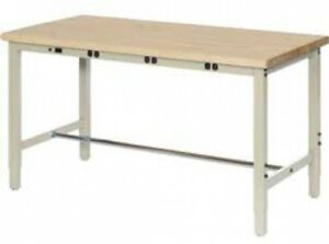 72 w X 36 d Production Workbench With Power Apron Birch Butcher Block Square