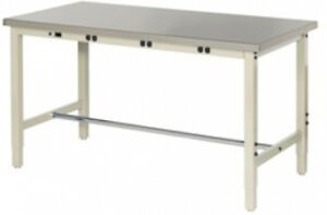 60 w X 30 d Production Workbench With Power Apron Stainless Steel Square Edge