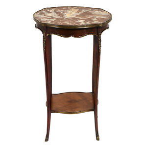 Antique French Louis Xv Style Side Table Mahogany Wood Beautiful Brass Decor