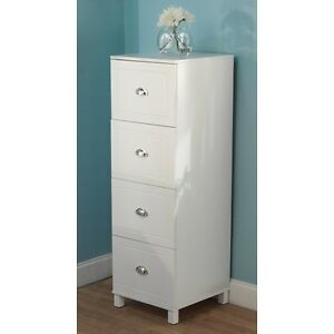 Wood File Cabinet 4 Drawer Filing Home Office Vertical Storage Classic White New