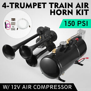 4 trumpet 150 Psi Air System 150db Metal 12v Train Air Horn Kit For Car Truck
