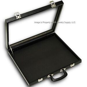 4 Glass Top Black 40 Space Display Box Organizer Case Lighters Pins Medals