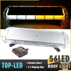 30 56 Led Beacon Truck Emergency Hazard Warning Roof Strobe Light Amber White