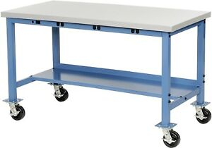 60 w X 30 d Mobile Packaging Workbench With Power Apron Esd Laminate Square