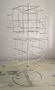 Antiqued Card Jewelry Display Rack White Carousel Multi Level 360 Spin 29