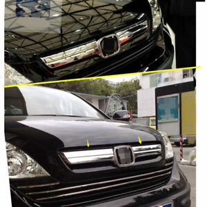 Abs Chrome Front Grille Grill Strip Logo Cover Trim For Honda Crv 2007 2008 2009