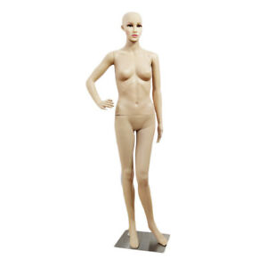 Female Mannequin Plastic Display Head Turns Dress Full Body Form W Base