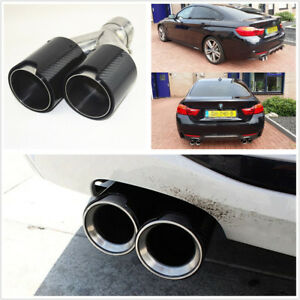 Universal Glossy Black Carbon Fiber Car Exhaust Dual Pipes End Tips Right Side