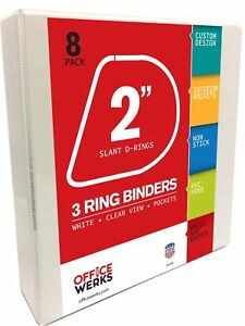 Officewerks 3 Ring Binders 2 Inch Slant d Rings White Clear View Pockets 8