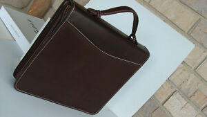 Monarch 1 75 Rings Brown Oiled Leather Franklin Covey Planner Binder Zip Handle