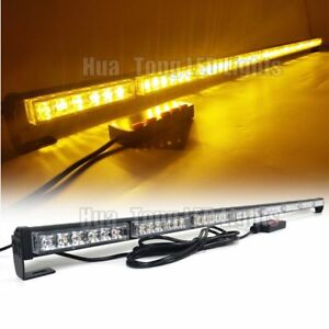 50 48w Traffic Advisor Warn Emergency Beacon Led Strobe Light Bar Amber Yellow