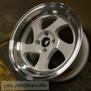 15 Swirl Tmb Style Wheels Rims 4 Lug 4x100 Brand New Set Of 4 Step Lip
