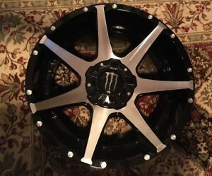 20x9 Black Machined Monster Energy 647mb Rim 6x135 6x139 7 12 Wheel