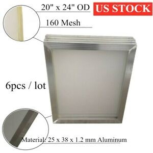 Us Stock 6 Pcs 20 X 24 Aluminum Screen Printing Frame With 160 Mesh White