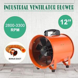 12 Extractor Fan Blower Portable 5m Duct Hose Utility Copper Winding Motor