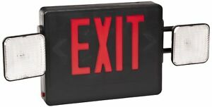Led Exit Light Legend With Incandescent Emergency Lights Combo Red Lettering