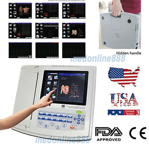 Fda Digital 12 lead 12 channel Electrocardiograph Ecg ekg Machine Interpretation
