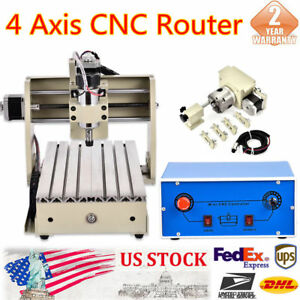 Diy 4 Axis Cnc 3020 Router Engraving Machine 3d Drilling Carving Cutter Engraver