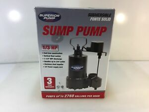 Superior Pump 92341 1 3 Hp Submersible Cast Iron Sump Pump