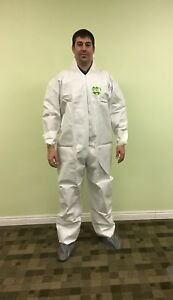 Tyvek Alt White Microporous Disposable Coverall Bunny Suit Hood Boots 25 Pc L