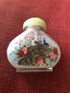 Antique Chinese Snuff Bottle Reverse Painted Signed Jade Stopper Birds