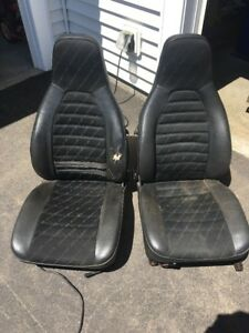 Porsche 924 And 944 Porsche Script Seats Rare Black Pair Leather