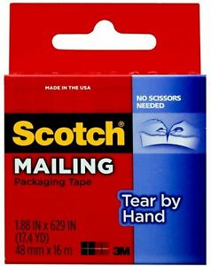 Scotch Tear by hand Packaging Tape 1 Ea pack Of 9
