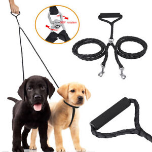 Dog Leash Dual Double Resilient No Tangle Soft Handle Dog Lead for Puppy Samoyed