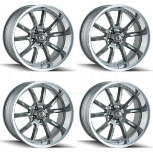4 new 20 Ridler 650 Wheels 20x8 5 20x10 5x5 5x127 0 0 Gunmetal Staggered Rims