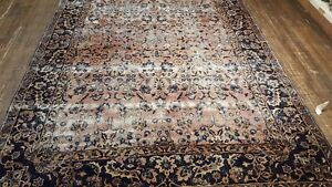 5 10 X 8 10 Authentic Antique Persian Kashan Dabir Rug Rose Pink Stressed