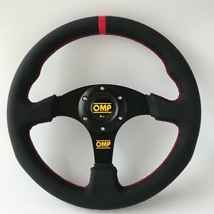 330mm Red Stitch Red Strip Flat Steering Wheel Omp Momo Nd Drifting Rally