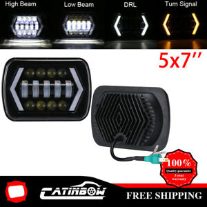 55w 7x6 5x7 Led Projector Headlight Hi Lo Beam Halo Drl For Jeep Cherokee Xj