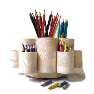 Rotating Colored Pencil Holder With 6 Pencil Stub Cups Holds 300 Pencils New